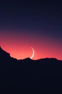 640x960 Moonset Silhouette 5k