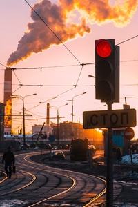 Morning City Traffic Lights Smoke Train Industry Chimney