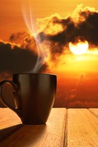 240x320 Morning Coffee Sun Rising