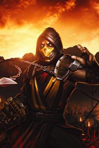 480x800 Mortal Kombat Scorpion Samurai 4k