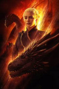 640x1136 Mother Of Dragons Fanart 4k