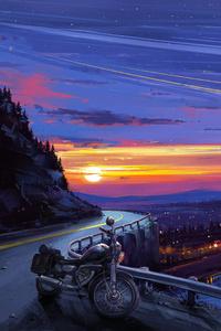 Motorcyle Digital Art Sunset Artwork