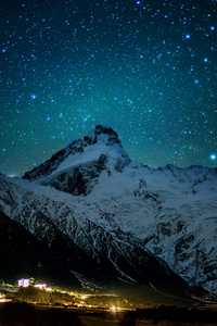 750x1334 Mount Cook Village Under The Winter Stars 8k