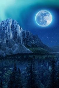 480x800 Mountain Aurora Moon Night Northern Lights 4k