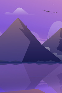 640x1136 Mountain Landscape Illustration