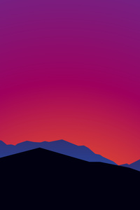 1125x2436 Mountain Landscape Sunset Minimalist 15k