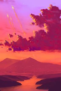 320x568 Mountain Lights Lake Minimal 4k