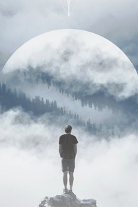 640x1136 Mountain Man Standing On Rock Manipulation Photography