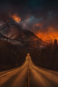 Mountain Nature Night Road 4k