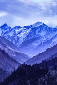 1080x2280 Mountain Range Blue 5k
