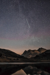 Mountain Range Reflection Shooting Stars 8k