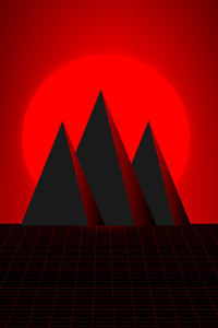 Mountain Red Minimal 4k