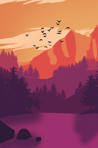 Mountains Birds Flying Minimalism
