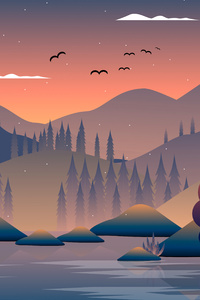 640x960 Mountains Birds Tree Minimal 5k