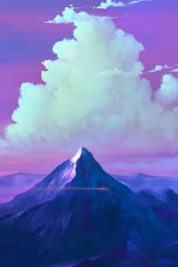 1080x2160 Mountains Clouds Landscape 4k