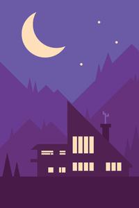 Mountains House Trees Illustration