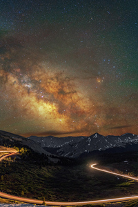 240x400 Mountains Long Exposure Milky Way 8k