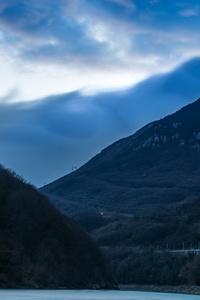 Mountains River Blue Landscape 4k