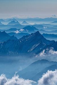 640x960 Mountains Sea Clouds 5k
