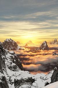 480x800 Mountains Snow High Clouds 5k