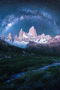 1440x2560 Mountains Snow Stars Galaxy 4k
