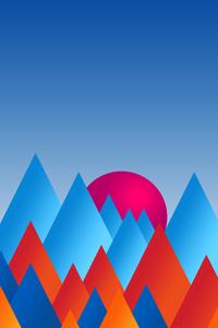 1440x2560 Mountains Sun Minimal Abstract 8k