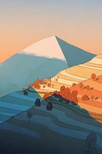 1440x2960 Mountains Sunset Near Time Illustration 5k