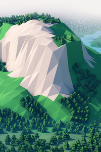 1440x2960 Mountains Trees Forest 3d Minimalism