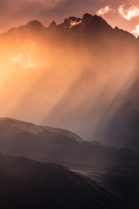 480x800 Mountains Under White Clouds 5k