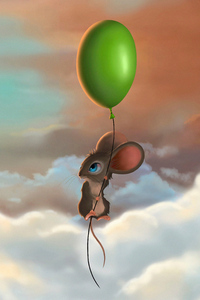 800x1280 Mouse Balloon Flying 5k