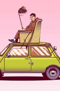 1242x2688 Mr Bean Sitting On Top Of His Car Vector Art
