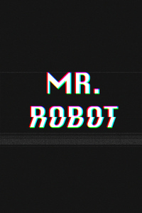 1242x2688 Mr Robot Typography Glitch Art 4k