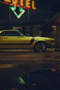 Mustang Outside Motel