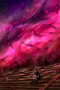 1242x2688 Nebula Sakura Cherry Blossom Galaxy 4k