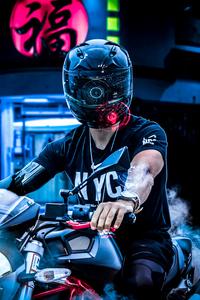 Neon Biker 4k