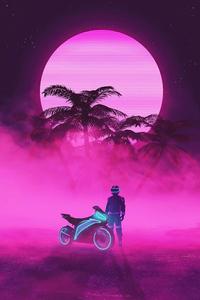 Neon Biker Boy 4k
