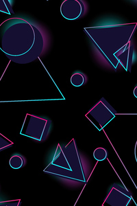 Neon Circles And Triangle 4k