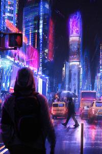 1440x2960 Neon City 5k