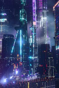 360x640 Neon City Lights 4k