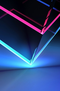 Neon Cube Abstract Shapes 4k