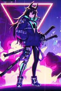 Neon Cyber City Cat Girl 4k