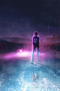 1080x2160 Neon Dark Sky Road 4k