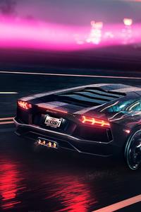 240x320 Neon Demon Lamborghini