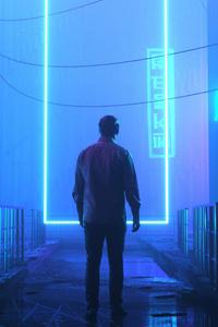 1080x2160 Neon Door 4k