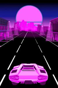 480x854 Neon Dream Lamborghini 5k