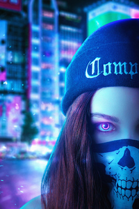 Neon Eyes Girl 4k