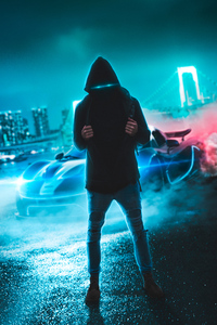 750x1334 Neon Eyes Hoodie Guy With Sport Car