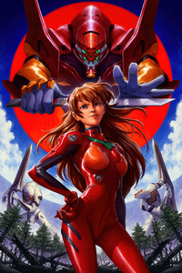 800x1280 Neon Genesis Evangelion Asuka Langley Soryu Red Costume 4k