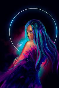 Neon Girl Digital Art