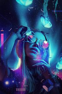 Neon Glasses Girl 4k